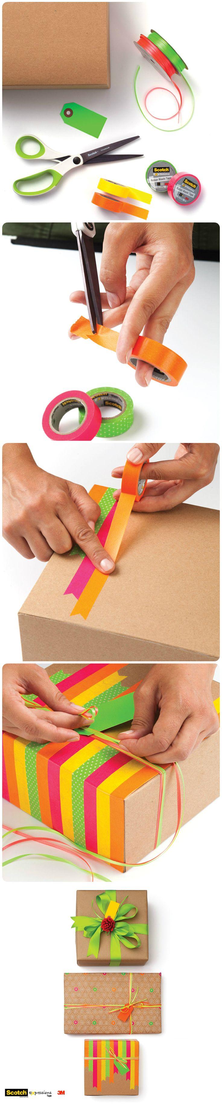 Kraft Paper and neon tape,