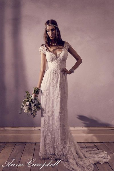 2016 Vintage Lace Bohemian Wedding Dresses V Neck Empire Cap Sleeves Floor Length Backless Bridal Dresses By Anna Campbell