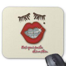 Shiny Braces, Red Lips, Mole, and Thick Eyelashes Mousepads