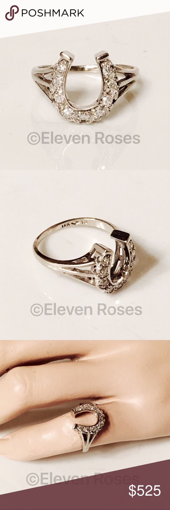 Vintage 14k White Gold & Diamond Horseshoe Ring Vintage 14k White Gold & Diamond Horseshoe Ring - 585 14k White Gold - Real (mined from the earth) Diamond Gemstones - Hallmarked; 14k TB - US Size 5.5 Fine Jewelry Jewelry Rings