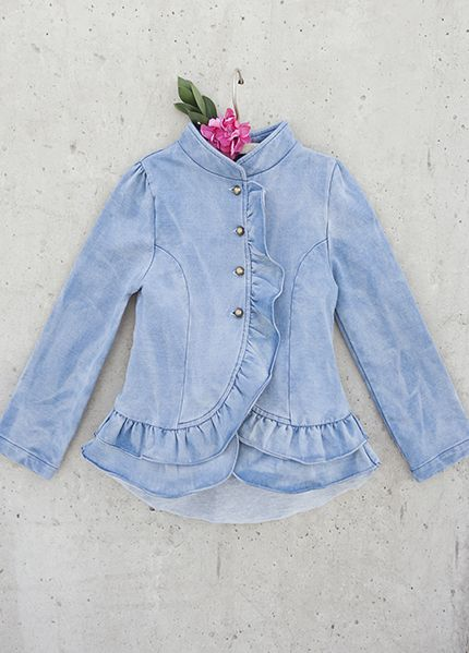 *NEW* Spencer Jacket in Denim tiered ruffle denim jacket
