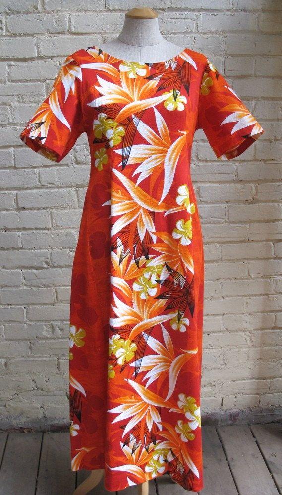 Vintage 60s Hawaiian Mumu Dress With Birds Of Paradise S M