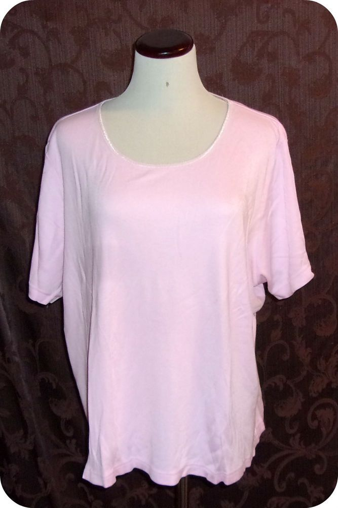 ceb5c9b8a00 White Stag Womens Top Plus Size 18 20W Pink Short Sleeve Cotton Rayon
