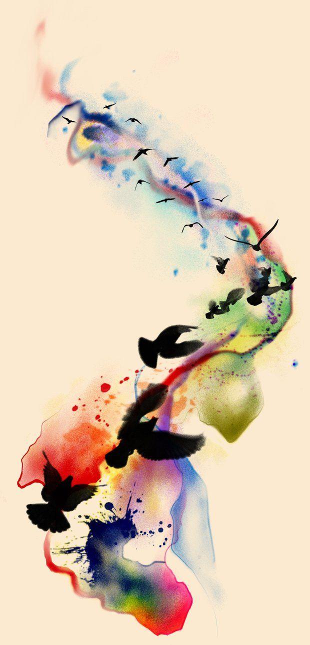 Watercolour tattoo vis vogels ballonnen