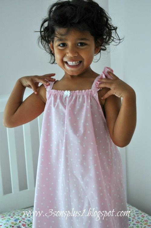 Nuestros 3 hijos Plus 1 ... Super Chica linda femenina: Tutorial de cómo hacer un camisón Niña de Verano