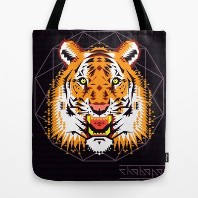 Geometric+Tiger+Tote+Bag+by+chobopop+-+$22.00