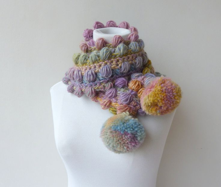 Pastels Scarf Pompom Scarf Crochet Pink Scarf Multicolor Unique Scarf colorful Winter Scarf by SallyAnnaBoutique on Etsy