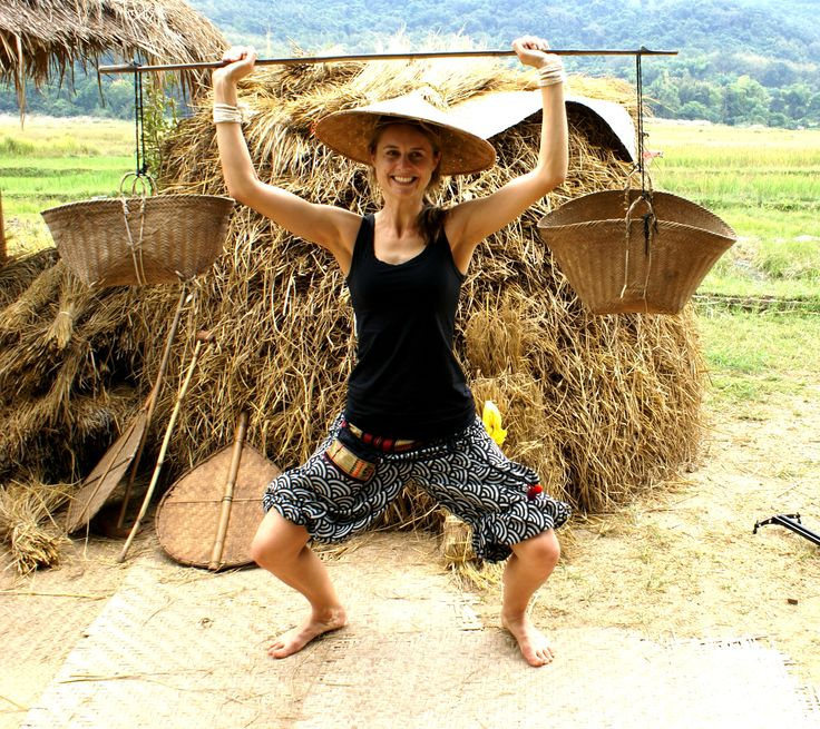 Hauling rice at the Living Land Farm in Laos!