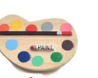 Paint palette magnet, Unique refrigerator magnets, cute wooden fridge Magnets, gifts for painters, locker magnets, art studio decor