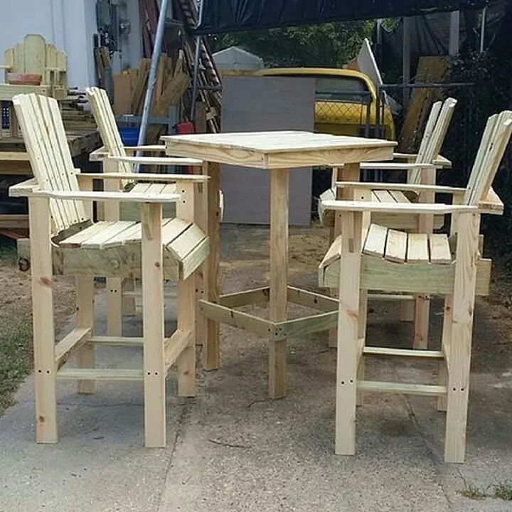 Barstool And Table Outdoor Wood Furniture Plans Diy