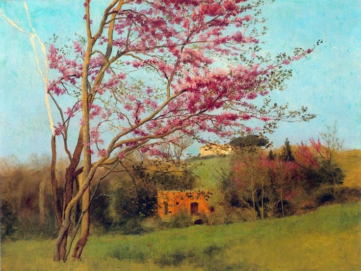 John William Godward - Landscape Blossoming Red Almond study