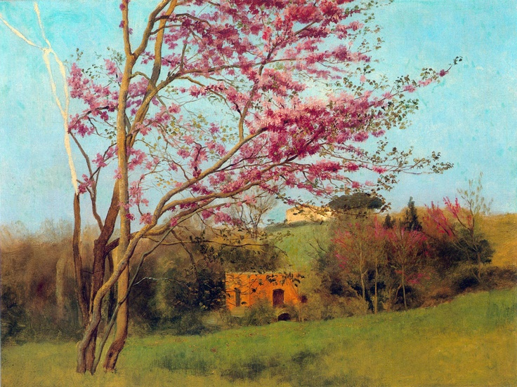 John William Godward - Landscape Blossoming Red Almond study