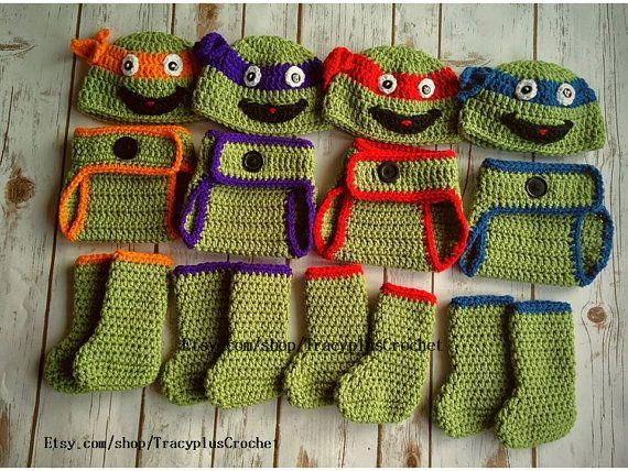 Crochet Ninja Turtle Photo Prop set. 3-piece by TracyplusCrochet