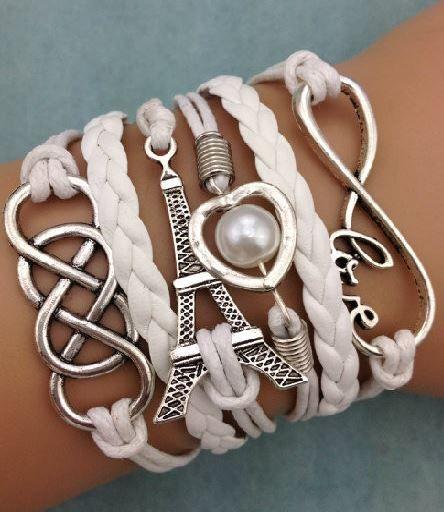 Armband wit-zilver Infinity-Heart-Eiffeltower-Double Infinity 48