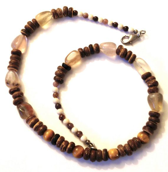 Fluorite and Tigers Eye Necklace by ZhiJewelry on Etsy