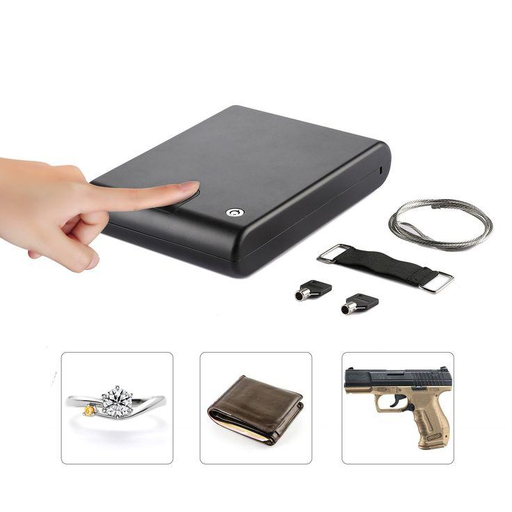 CO-Z Portable Hand Gun Safe, Optical Fingerprint Sensor & Keylock, Lockbox Jewelry Lock Box, Pistol Safe, 10.8 x 7.5 x 2.0 in, for Valuables, Cash, Pistols & Handguns