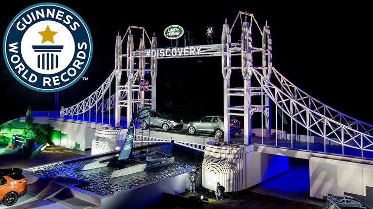 A 13m/42f high LEGO version of London's Tower Bridge created for Land Rover to launch their New Discovery car has set a new world record. The huge plastic brick construction, unveiled this evening in Warwickshire, UK now holds the title for Largest Lego sculpture (most bricks), with the replica of the London landmark created using an astounding 5,805,846 individual pieces. Laid end to end, the bricks used in the construction would stretch for almost 200 miles - the equivalent distance from…