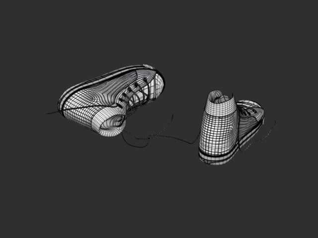 canvas shoe 3d model done in maya,zbrush