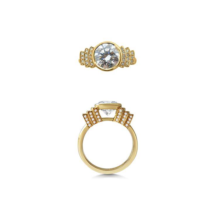 1 5ct Round Brilliant Cut Diamond 18ct Yellow Gold Engagement Ring With Steps Rachel Boston