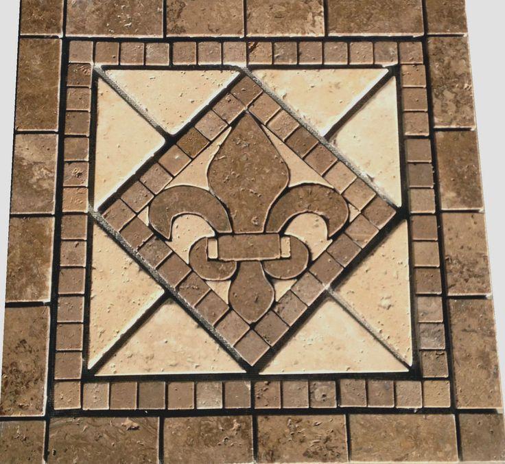 18x18 Noce Marble Fleur Dis Lis Mosaic Medallion Design