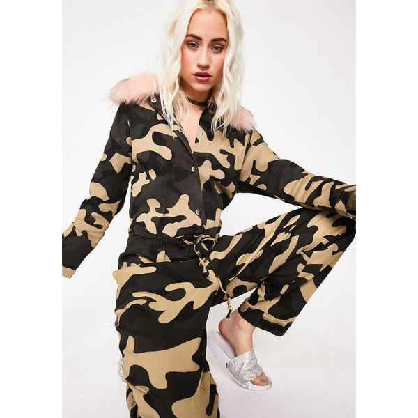 Camo Faux Fur Jumpsuit ($48) ❤ liked on Polyvore featuring jumpsuits, camo, jump suit, camouflage jumpsuit and camo jumpsuit