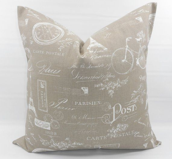 Ecru Pillow Cover Ecru White Paris Print Pillow Cover Stamp Country Style Pillow Case 1 Piece Cotton Select Your Size Pillow Covers Pillows Handmade