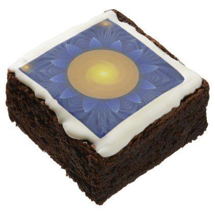 #Bright Blue and Orange Water Lily Fractal Lotus Chocolate Brownie - #Chocolates #Treats #chocolate