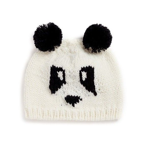 The Blueberry Hill 'Elliot' panda knit kids beanie (€27) ❤ liked on Polyvore featuring accessories, hats and brown