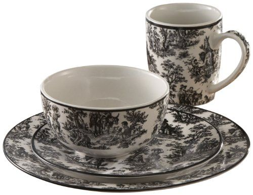 Waverly 16 Piece Country Life Dinnerware Set in Black at Joss u0026 Main  sc 1 st  Pinterest & 15 best Black And White Dinnerware images on Pinterest | Dish sets ...