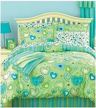 Twin Green Hearts Blue Comforter Bed in A Bag 6P Throw Girls Teen Bedspread | eBay