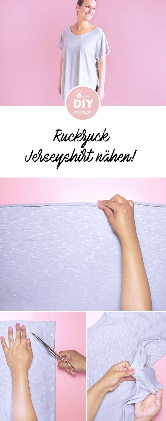 Jersey-Shirt in 5 Minuten nähen! Kostenlose Nähanleitung via Makerist.de