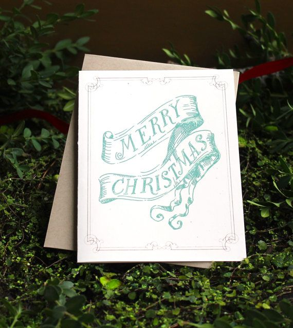 Mint Green Merry Christmas - Modern Christmas Card, Retro Holiday Car, Taupe Envelopes,