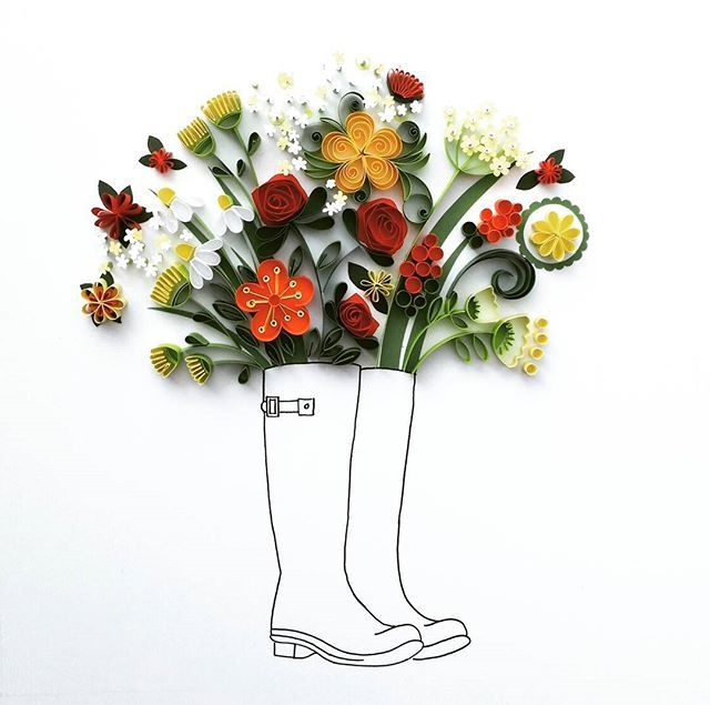 Welly boot bouquet. Original quilling art. #quilling #paperart #papercutting…