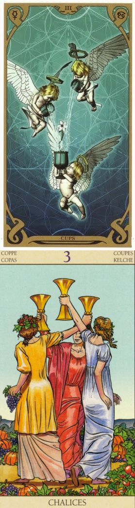 Three of Cups: social pleasure and lack of independence (reverse). Night Sun Tarot deck and New Vision Tarot deck: tarotkit for beginners, tarotplaying cards vs yes no answer. New gotham and oracles.