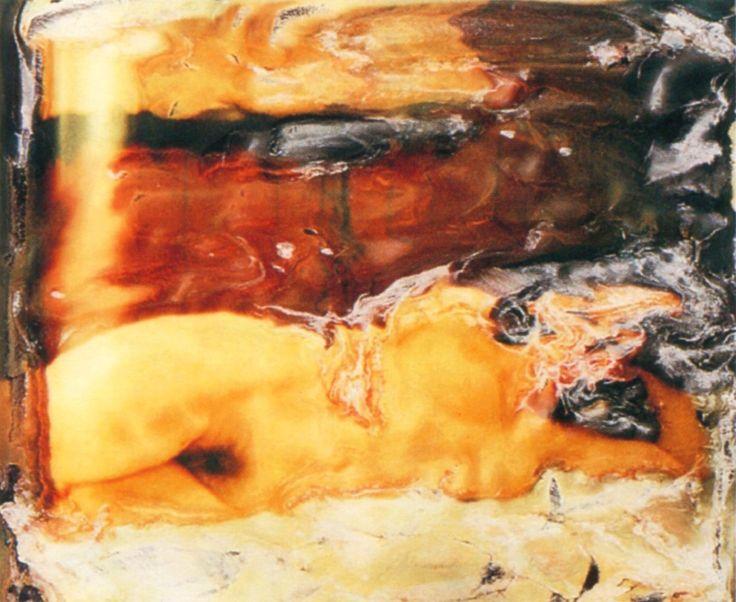 Polaroids hands on emulsion, Cognento, 1982, by Franco Fontana