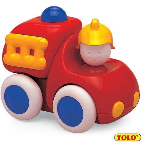 Baby brandweerauto  Tatuut tatuut! Daar komt de brandweerwagen aan! Met deze stoere brandweerauto kan uw baby heerlijk spelen. Of er nu lekker op gesabbeld wordt of dat uw kind er mee door de kamer schuift; de tbrandweerauto tovert altijd een lach op ieders gezicht.   Formaat: 5 x 9 x 8 cm  6 maanden en ouder