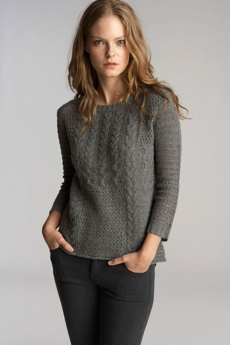 Anella Patchwork Cable Crew Neck Sweater by Velvet