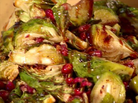 Balsamic-Roasted Brussels Sprouts Recipe : Ina Garten : Food Network (Substitute thick cut bacon for the pancetta)
