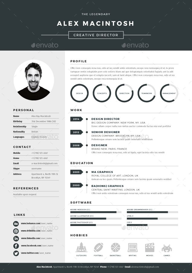 Best Cv Images On   Cv Template Resume Design And