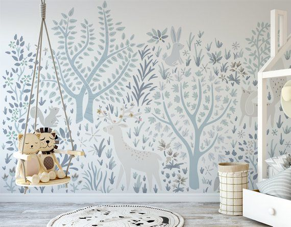 This Large Scale Woodland Wall Mural On White Background Was Designed By Whitney Hawkins For Her Enchanted Coll Forest Wall Mural Nursery Wallpaper Wall Murals