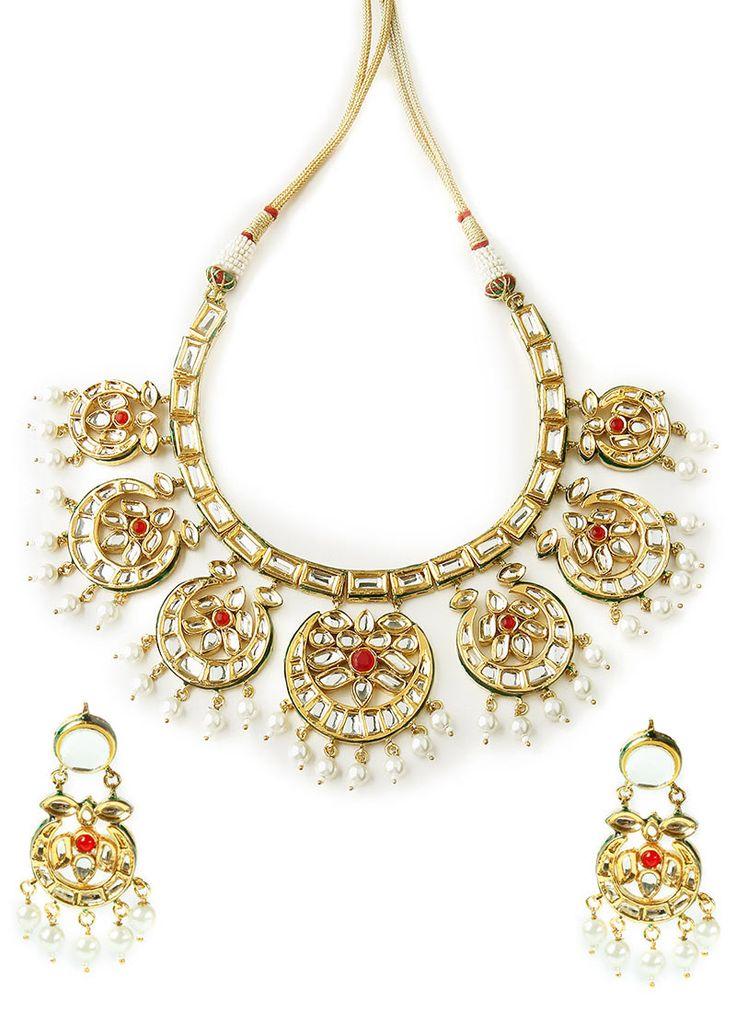 Mehtaphor Green N Gold Kundan Necklace Set