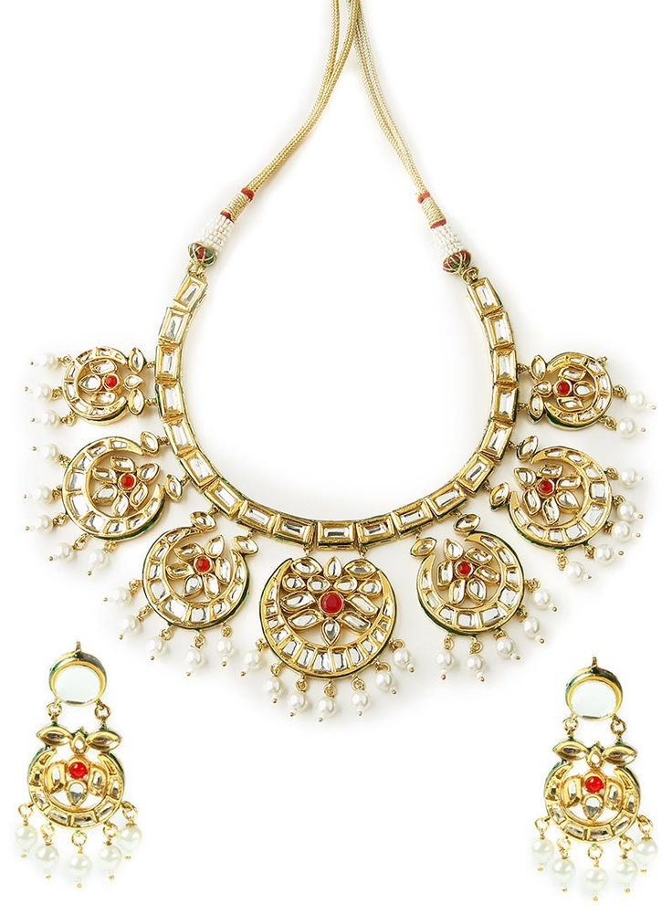 Kundan Pankhi haar and earrings