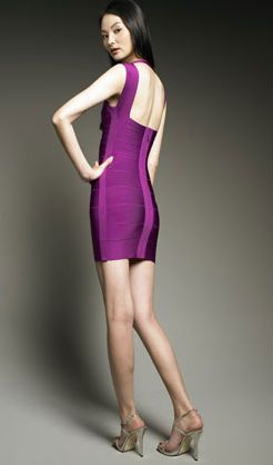 2013 cheap brand bandage dress purple night out dress