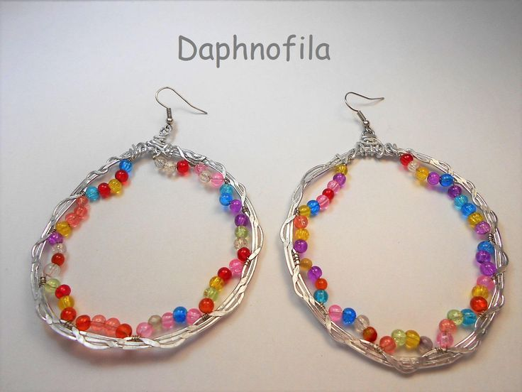 Hoop earrings, Glass beads earrings, Handmade earrings, Handmade jewelry, Daphnofila fashion, Greek fashion, Earrings for gift, For  women by Daphnofila on Etsy