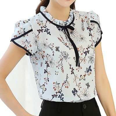 Summer Women Chiffon Flower Print Blusas Feminina Short Sleeve Stand Collar Bow Blouse And Shirts Female Plus Size Casual Tops