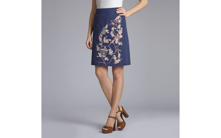 Birdcage Embroidered Pencil Skirt