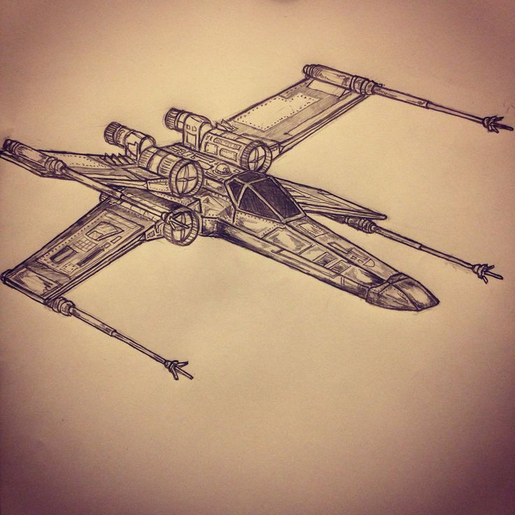 X wing fighter / Star Wars tattoo sketch by - Ranz