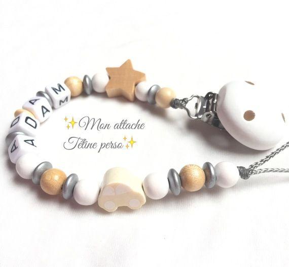 """attache tétine personnalisée perles en bois ~ modèle voiture nature blanc argent """"Adam"""""""
