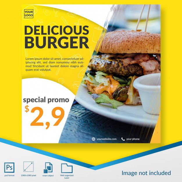 Fast Food Burger Special Promo Offer Social Media Post Template Burger Specials Food Burger