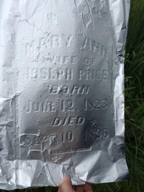 Foil can make hard-to-read gravestones legible